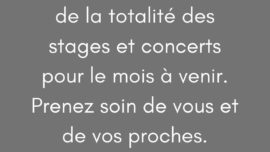 annulation concerts et stages