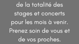 annulation concerts et stages d'Emmanuel Pi Djob - covid-19
